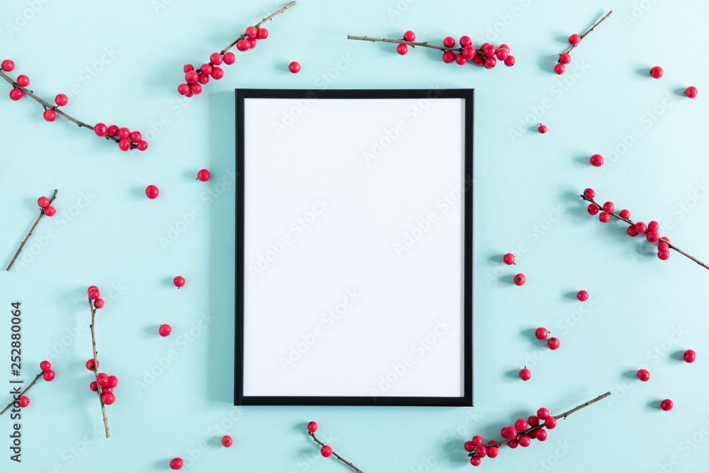 Fototapety, obrazy: Berries composition. Photo frame, red berries on pastel pink background. Flat lay, top view, copy space