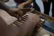 Zigarren werden in Nicaragua in eine Form zum pressen gelegt