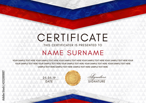 certificate template with russian flag  white  red  blue colors  frame and gold badge  white