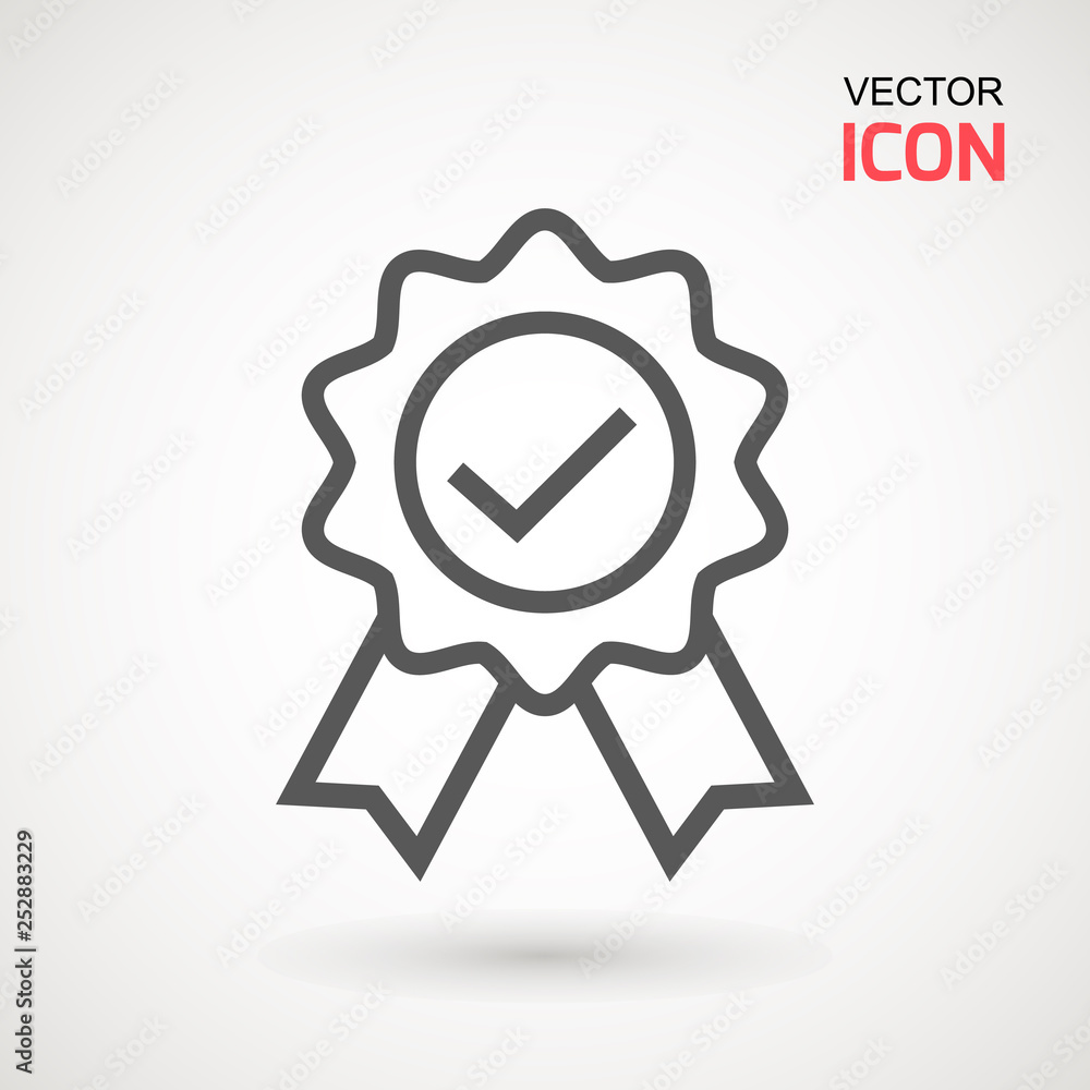 Fototapeta Approved or certified medal icon in a flat design. Rosette icon. Award vector.