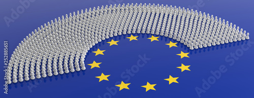 Fotografie, Obraz  Members of European Parliament as chess pawns on European Union flag