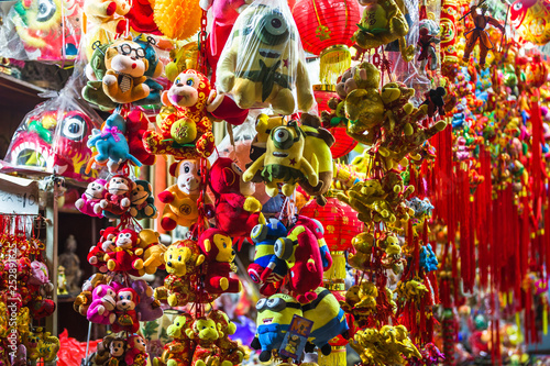 Traditional Chinese colourful attire and souvenirs for sale