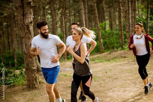 Grupa młodych ludzi prowadzi maraton przez las