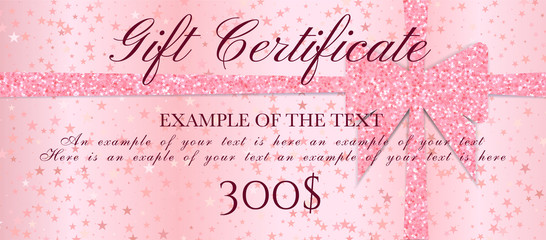 Gift Certificate, ticket, Gift Voucher with sparkle starry glitter background and pink bow (ribbon). Blank coupon  template useful for invitation, party, event or entertainment show