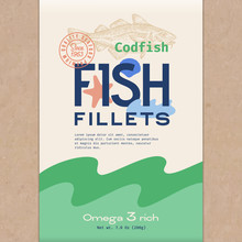 Fish Fillets. Abstract Vector Fish Packaging Design Or Label. Modern Typography, Hand Drawn Codfish Silhouette And Colorful Elements. Craft Paper Background Layout