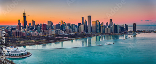 Cuadros en Lienzo  Beautiful Sunsets Chicago