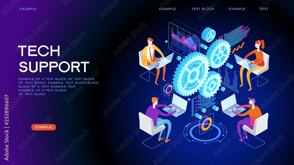 Fototapeta Technical support concept for web banner
