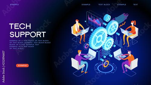 Obraz na plátně Technical support concept for web banner