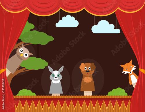 Poster Marron chocolat Cartoon Children Puppet Theater Background Card. Vector