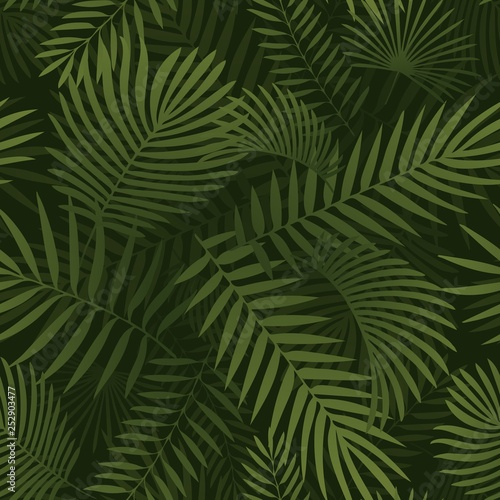 Ingelijste posters Tropische Bladeren Green tropical leaves. Seamless graphic design with amazing palms leaves