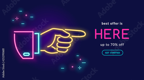 Fotomural  Human hand pointing finger in neon light style with text best offer is here on d