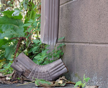 Broken Gutter Downspout In Need Of Repair
