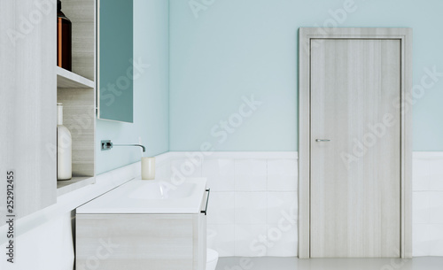 Fototapeta View of the bathroom with modern furniture and a door in bright colors.. 3D rendering. Mockup obraz na płótnie