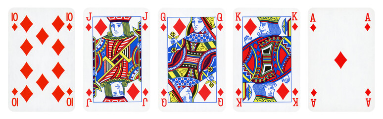 Diamonds Suit Playing Cards, Set include Ace, King, Queen, Jack and Ten - isolated on white.