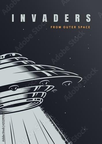 Fotografia VIntage alien invasion poster