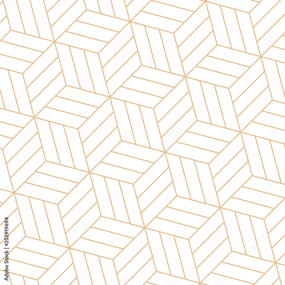 vector 3d gold geometric square black background seamless pattern