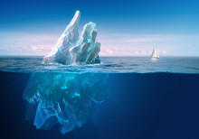Ice In Water, Iceberg In Blue ...