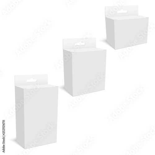 Fotografía  White Product Package Box With Hang Slot . Mock Up. Vector.