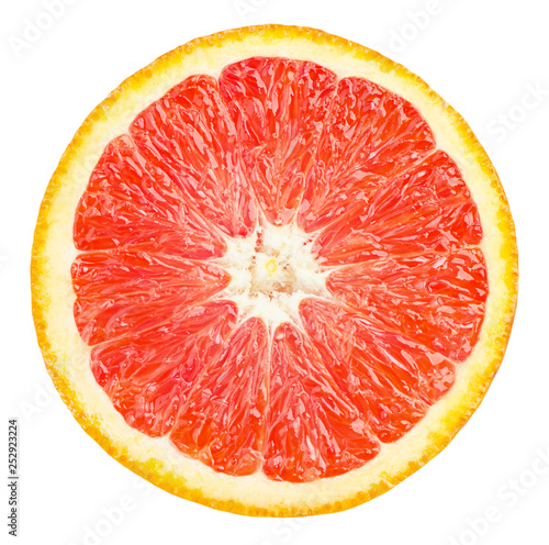 Photo sur Toile Amsterdam Isolated red orange fruit. Slice of fresh red orange isolated on white background with clipping path