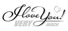 Handwritten Isolated Text I Love You With Heart Shadow. Hand Drawn Calligraphy Lettering