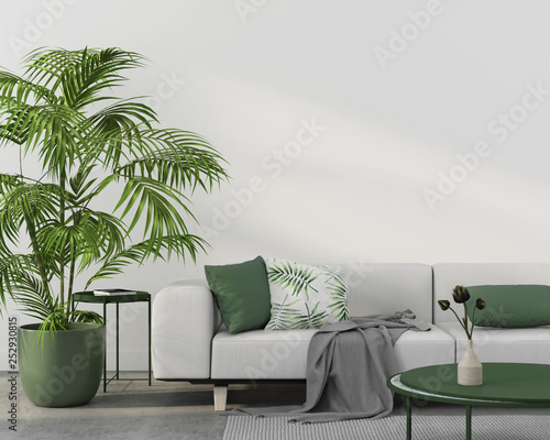 Interior with white sofa and green pillows Wall mural