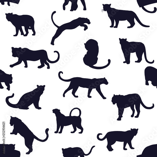 Foto  Seamless pattern of hand drawn sketch style silhouettes of leopards isolated on white background