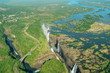 canvas print picture - Victoria falls and Zambezi River from the air, Zimbabwe