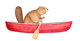 Fototapeta Fototapety na ścianę do pokoju dziecięcego - Brown beaver character in blank red canoe, rowing with wood paddle. Side view. Symbol of ingenuity, diligence, perseverance. Handdrawn watercolour painting, cutout clipart element for creative design.