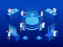 Development Of Nuclear Or Atomic Technology. Interaction Of Different Studies. Isometric Vector Illustration