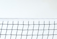 Isolated Volleyball Net On The Beach Background, Sport Activity In Summer Holiday