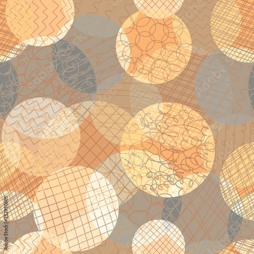 Fotografie, Obraz  Abstract circles seamless vector pattern