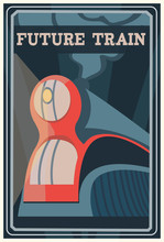 Art Deco Dreyfuss Train Poster. Vintage Travel Illustration. Illustration Of Transcontinental Passenger Train.
