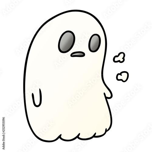 gradient cartoon of a kawaii cute ghost Canvas Print