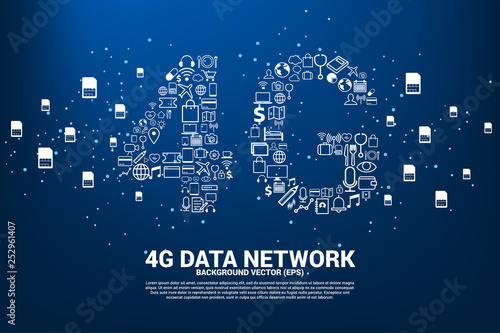 Vector Polygon dot connect line shaped 4G mobile network
