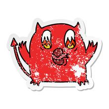 Distressed Sticker Cartoon Of Cute Kawaii Red Demon