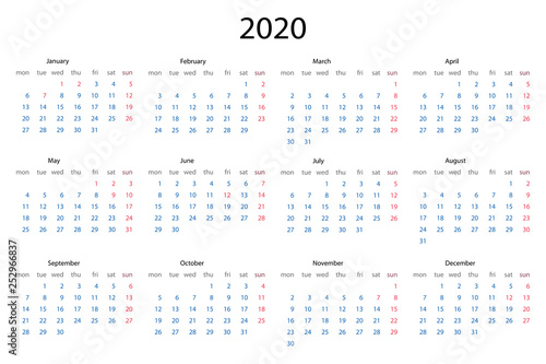 2020 Calendar template, 12 Months  Yearly planner stationery
