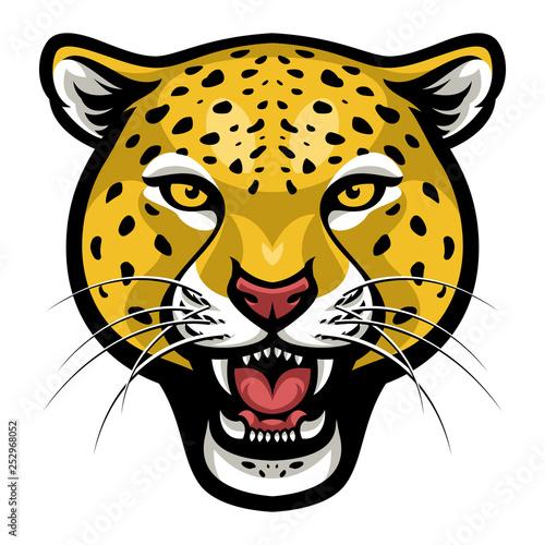 Angry cheetah face vector Canvas Print