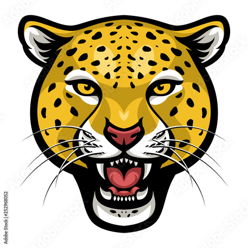 Angry cheetah face vector Fototapet