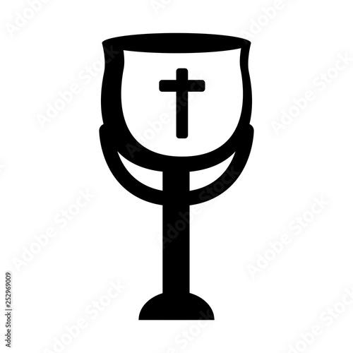Fotografie, Obraz  Outline of a chalice. Holy week. Vector illustration design