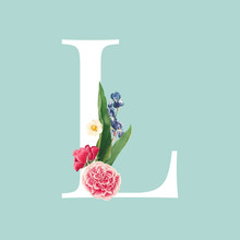 Floral Styled Letter L Typography