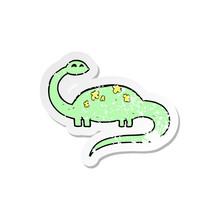 Retro Distressed Sticker Of A Cartoon Dinoaur