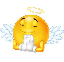 Angel Emoticon Isolated On Whi...