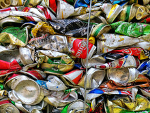 Bangkok, Thailand - September 20, 2018 : Pile Of Old Aluminum Beverage Cans Prepare For Recycle