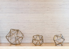 3 Metal Geometric Tabletop Sculptures