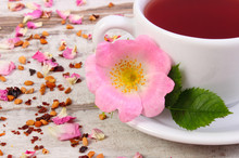 Cup Of Hot Tea With Wild Rose ...
