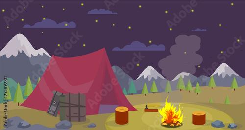 Cadres-photo bureau Aubergine Vector Flat Night Camping Mountains Burn Campfire.