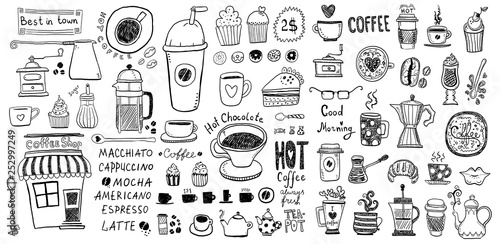 Fotografering  Doodle set of coffee drawings, handmade sketches.