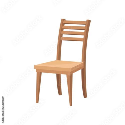 Obraz na płótnie Brown wooden chair with backrest and soft beige seat