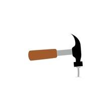Hammer And Nail Icon Or Logo