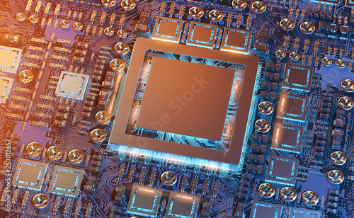Spoed Foto op Canvas Hoogte schaal Close-up view of a modern GPU card with circuit 3D rendering
